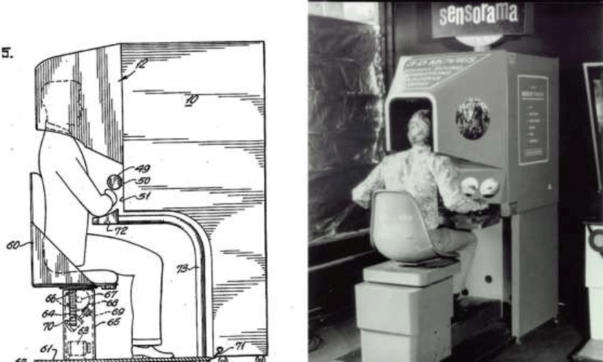 Sketch-on-the-left-and-picture-on-the-right-of-the-Sensorama-Simulator-patented-by-M