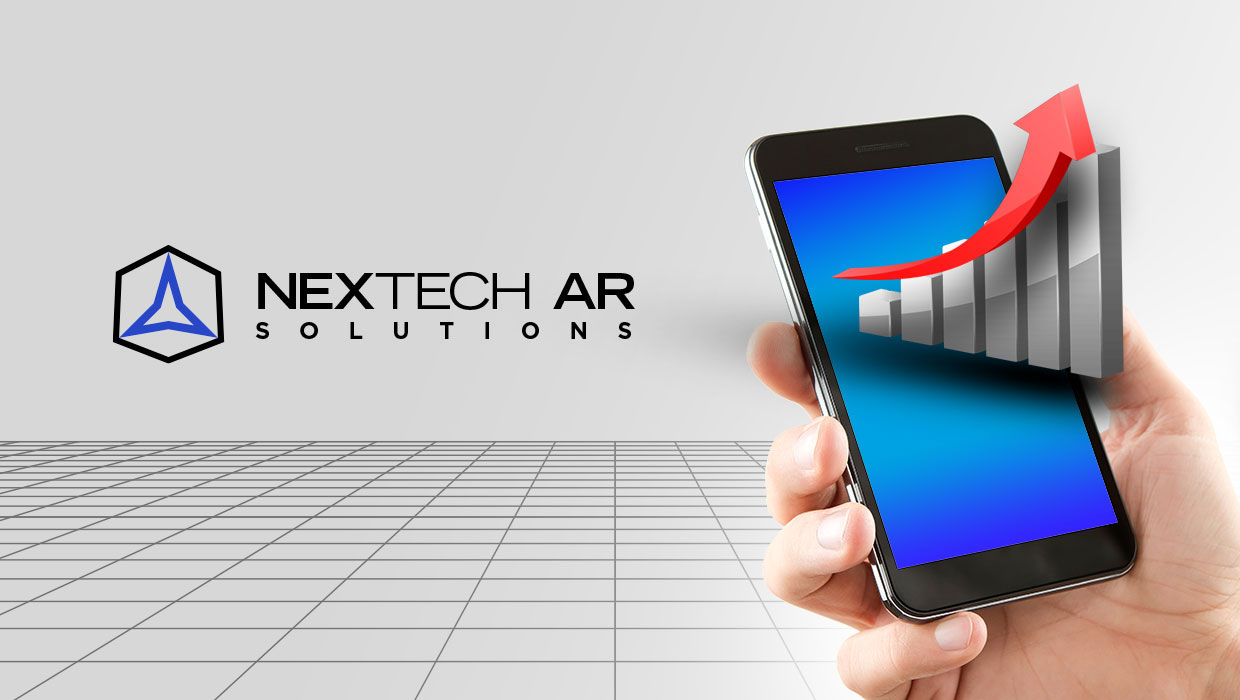 Nextech AR Solutions logo with smartphone showcasing augmented reality chart