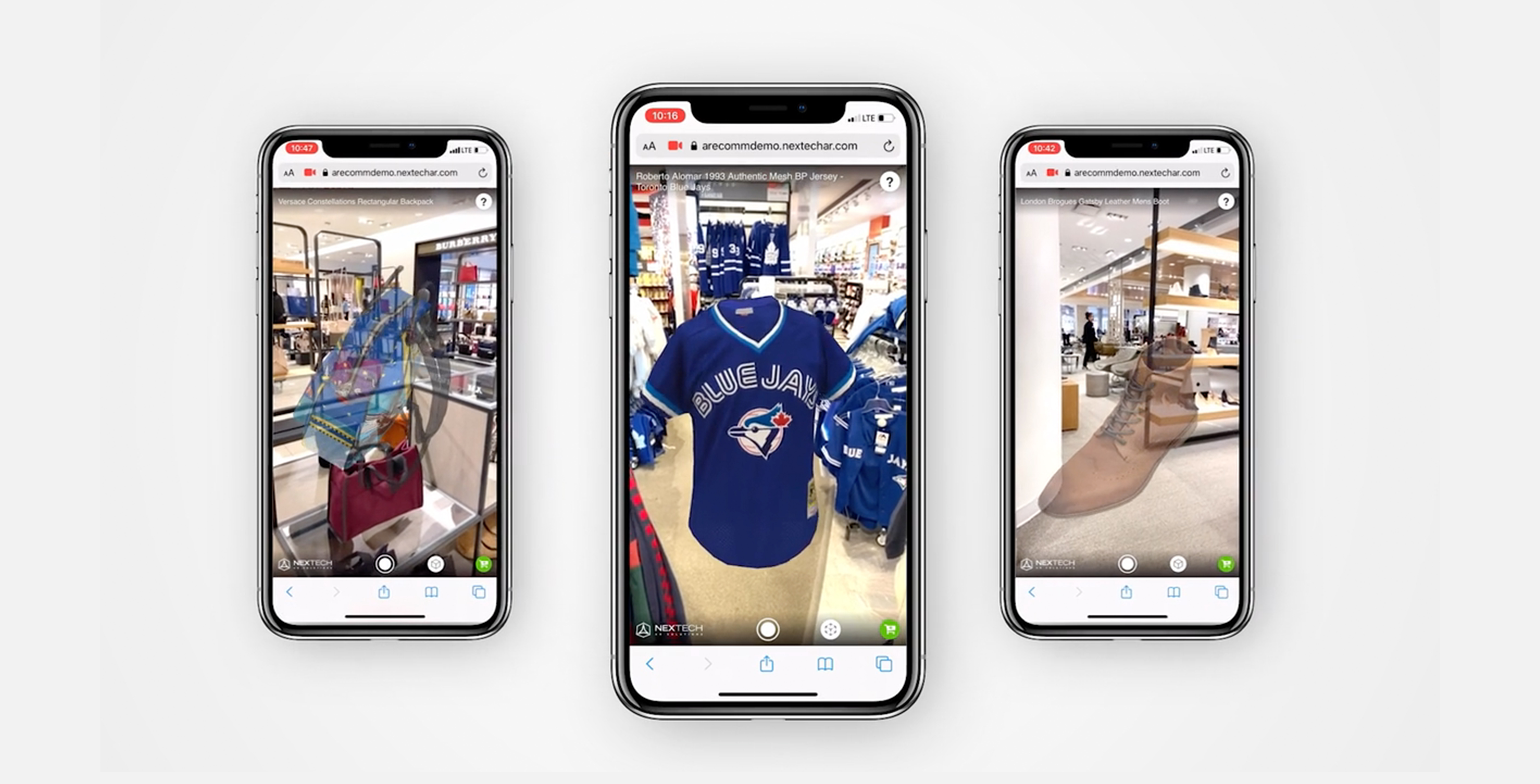 Smartphones showcasing augmented reality shopping