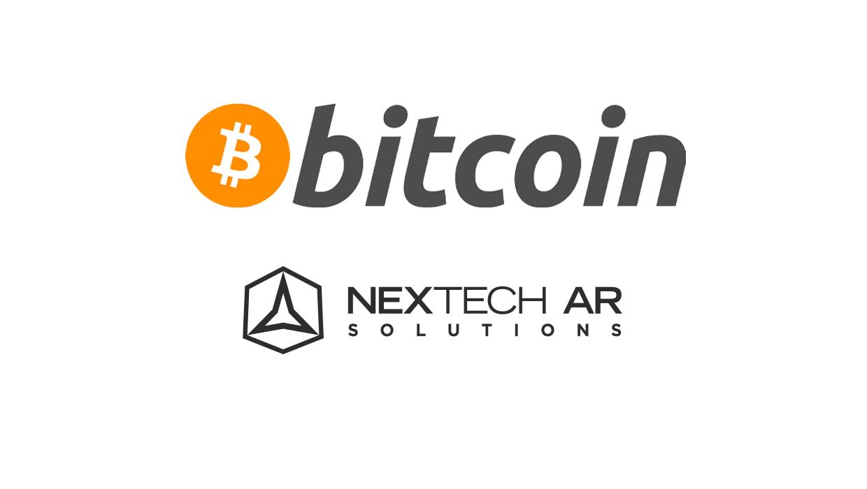 Bitcoin logo with Nextech AR Solutions logo