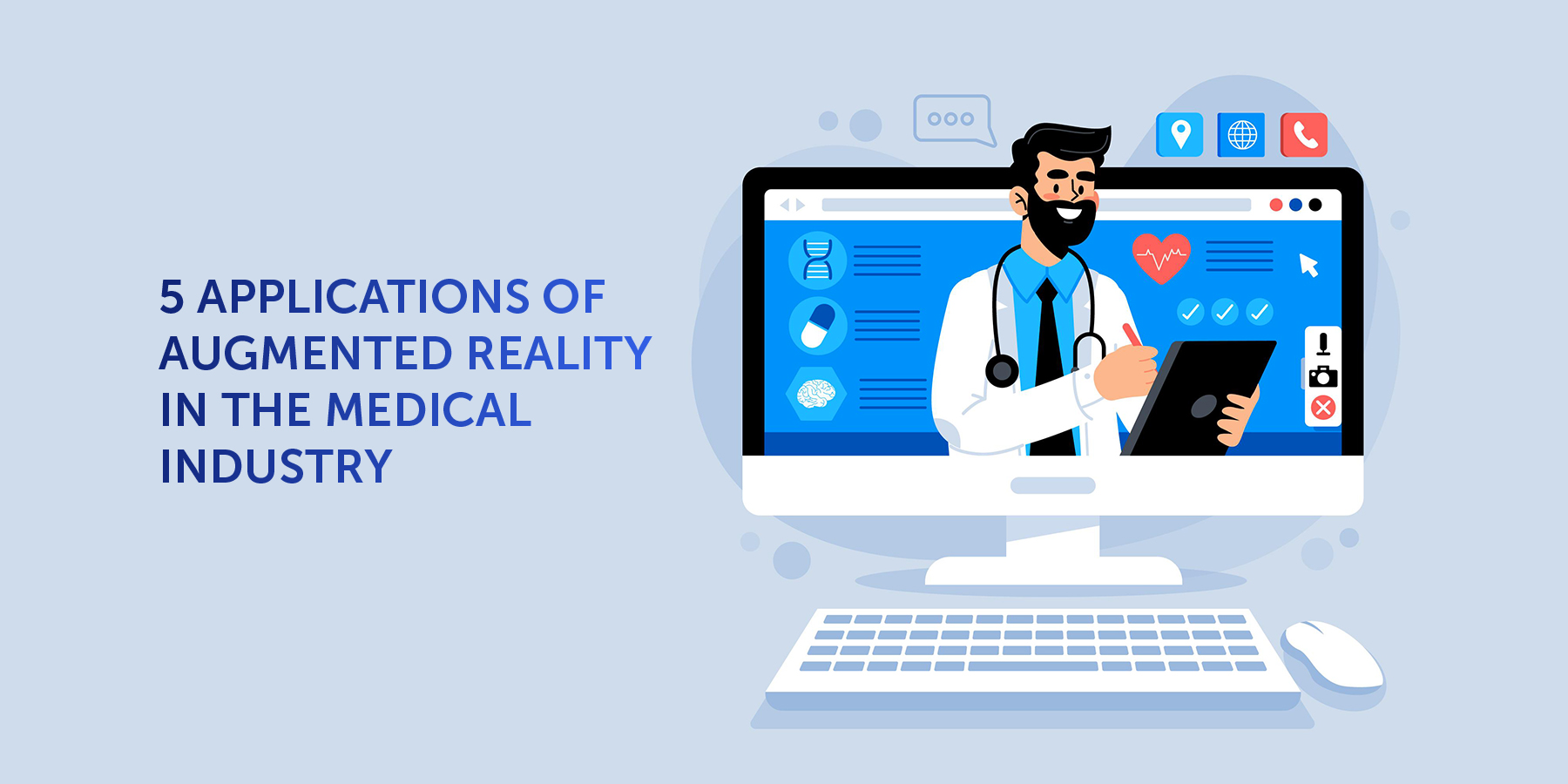 Illustration of doctor on computer screen