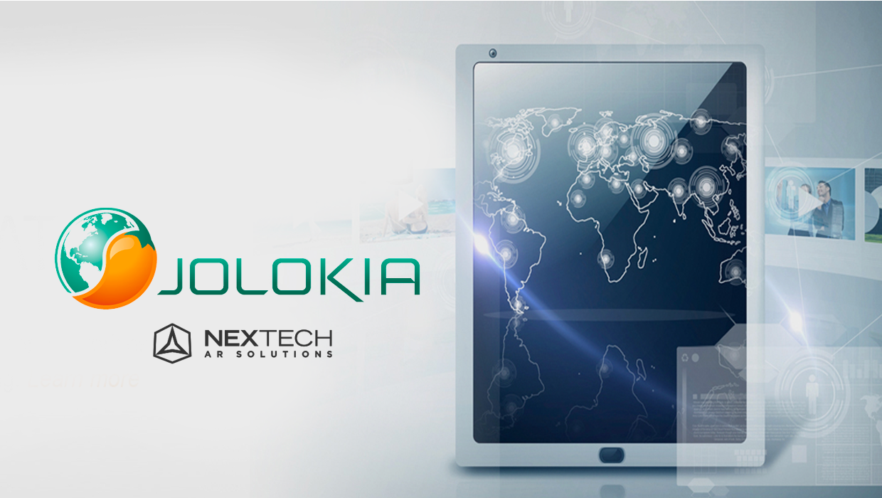 Jolokia logo with Nextech AR Solutions logo and tablet showcasing glowing map of the world