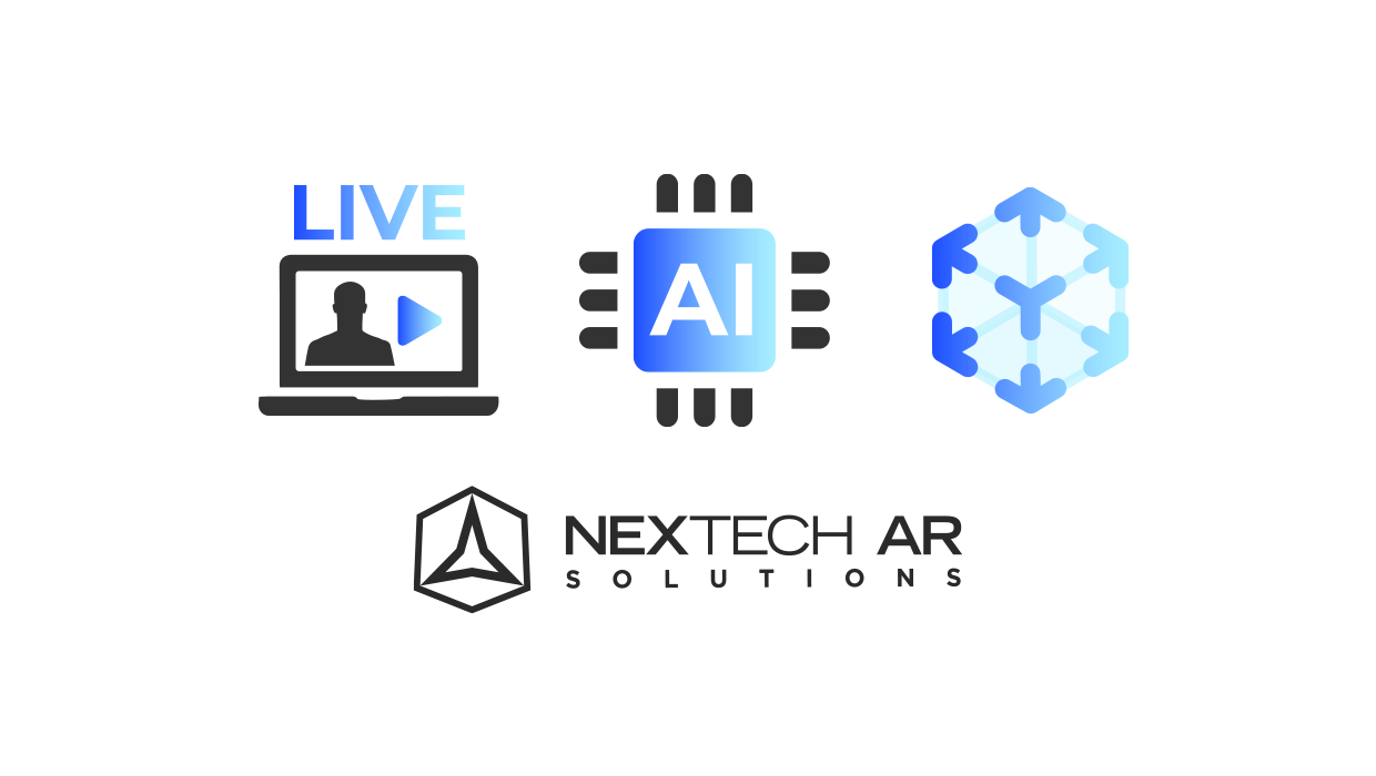 Nextech AR Solutions logo with laptop icon and artificial intelligence icon