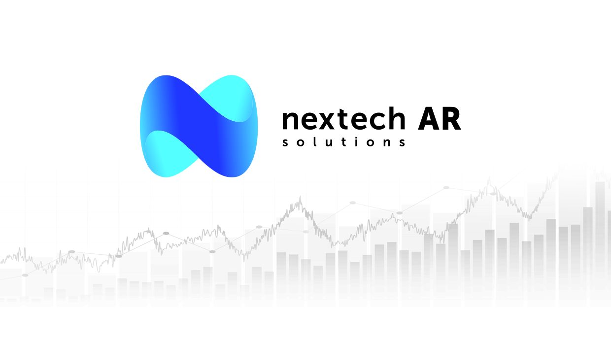 Nextech AR Solutions Logo with a Greyscale stock chart.