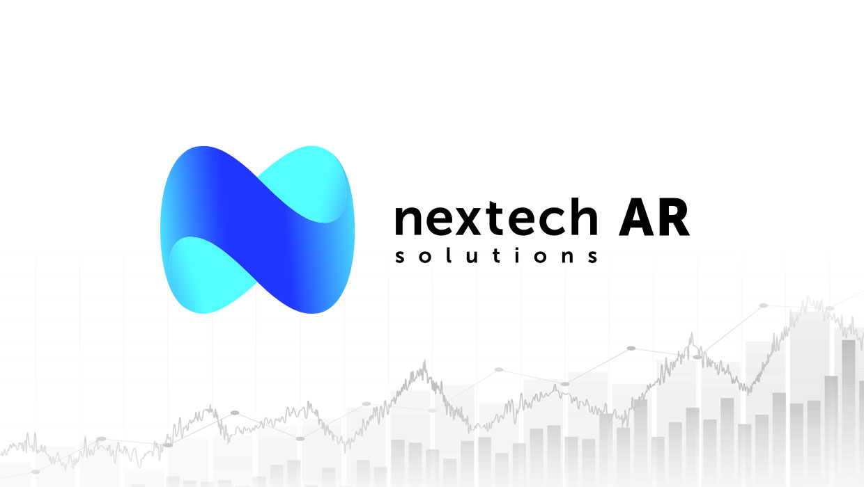 Nextech AR Solutions Logo in color with black text and a illustration of a stock chart with peaks and valleys
