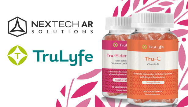 Nextech AR Solutions logo with TruLyfe logo and Trulyfe gummy supplements