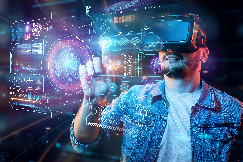 Man wearing headset using virtual reality technology